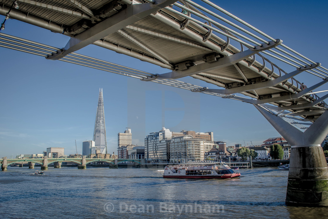"""The London Shard and Millennium Bridge"" stock image"