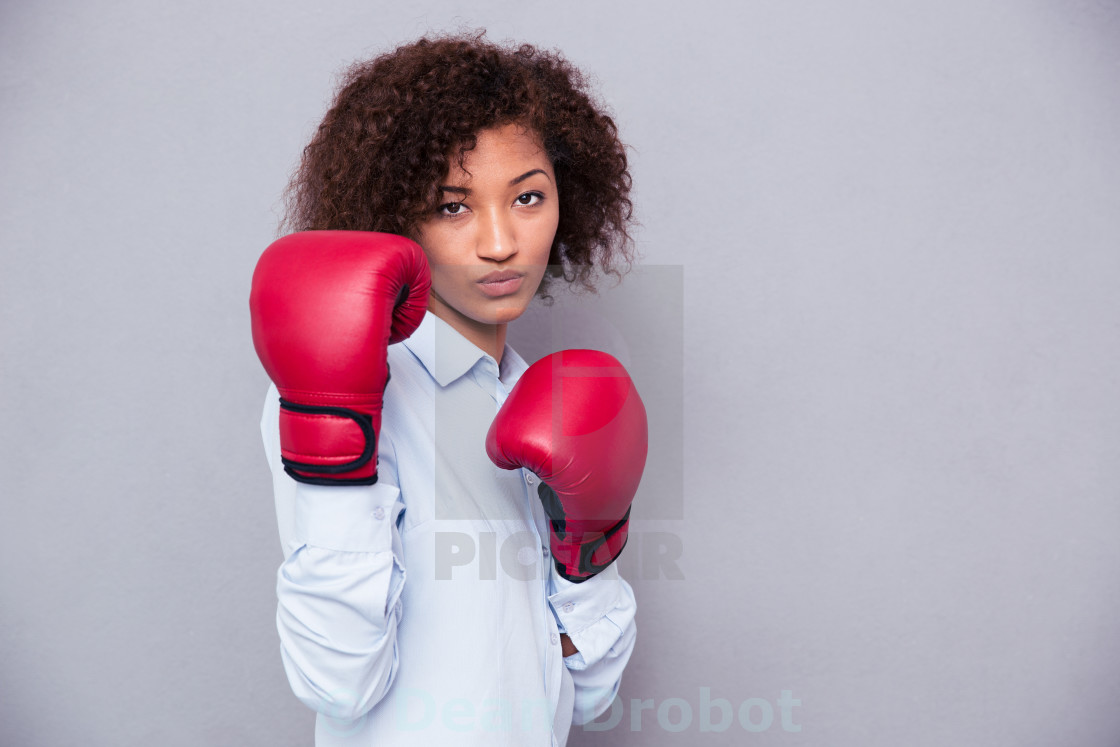 """""""Afro american woman in boxing gloves"""" stock image"""