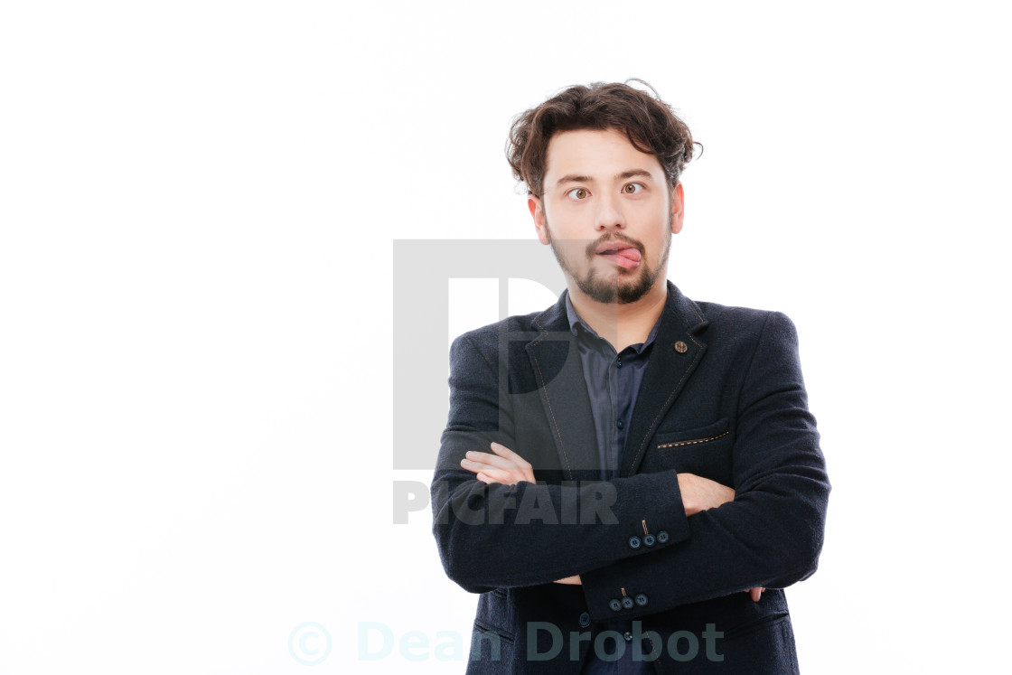 """Businessman making funny face"" stock image"
