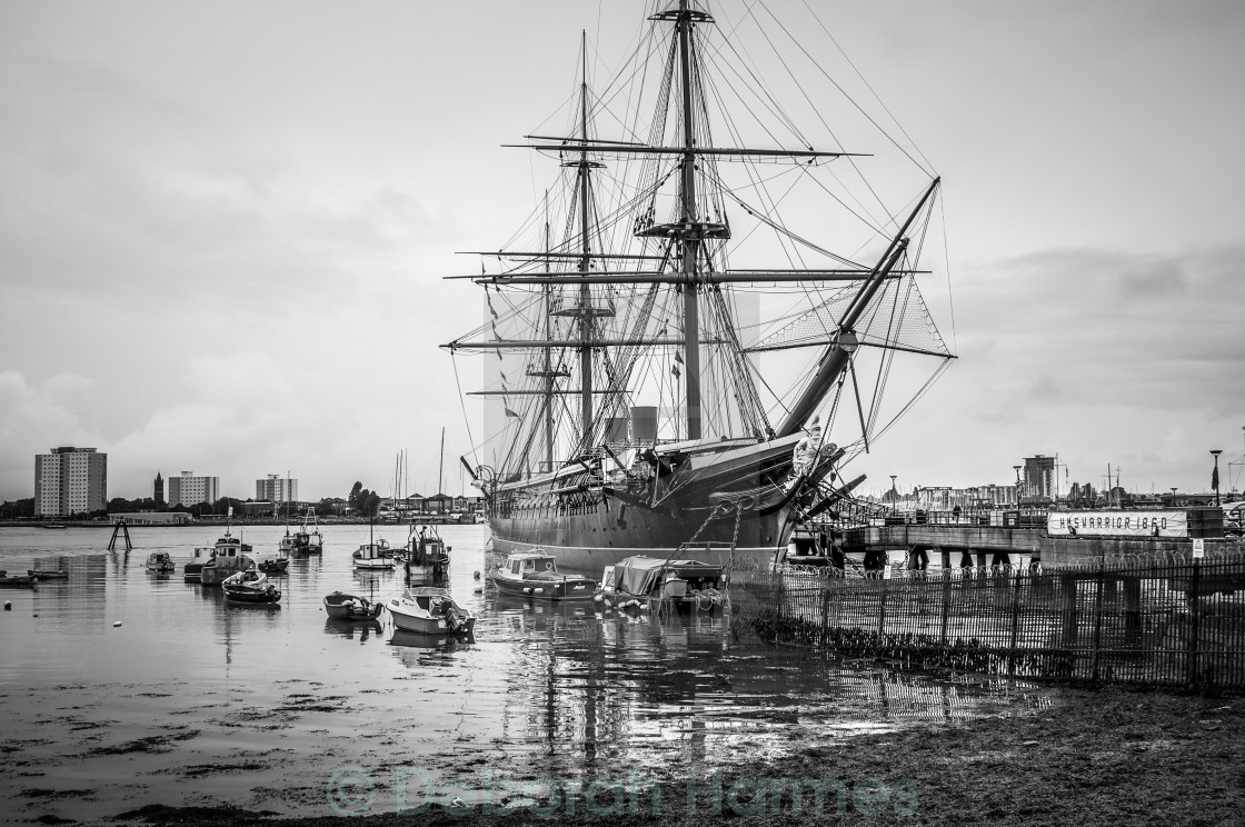 """""""HMS Warrior at Low Tide in Portsmouth, UK-B&W"""" stock image"""