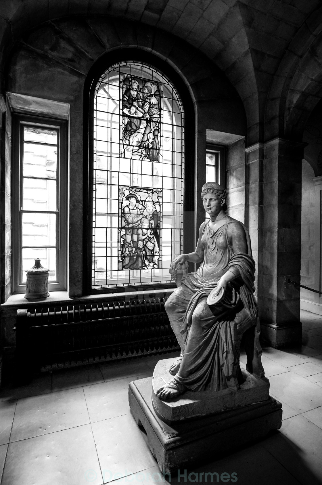 """""""Statue & Stained Glass in Stately Home UK"""" stock image"""