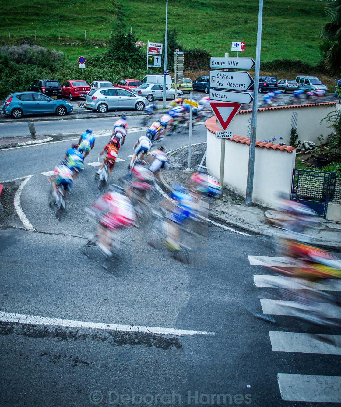 """Cycle Racing At Night in South of France"" stock image"