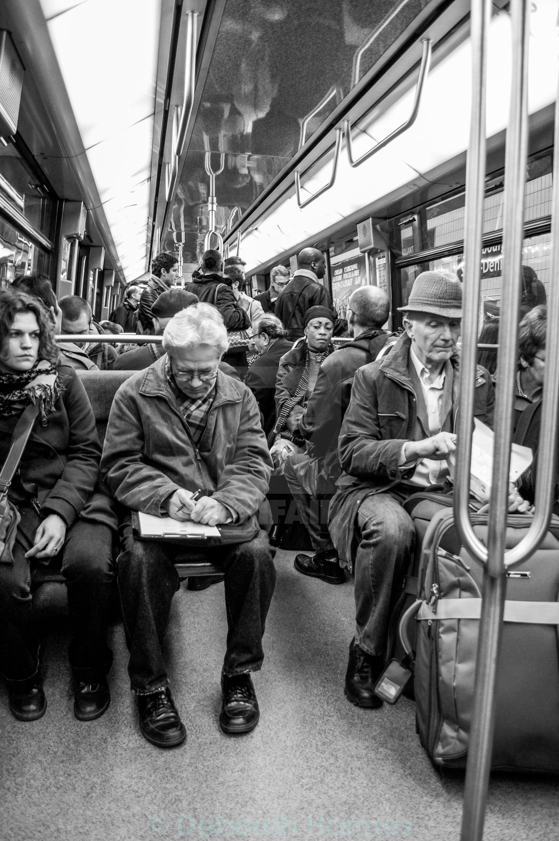 """Crowded Paris Metro at Rush Hour B&W"" stock image"
