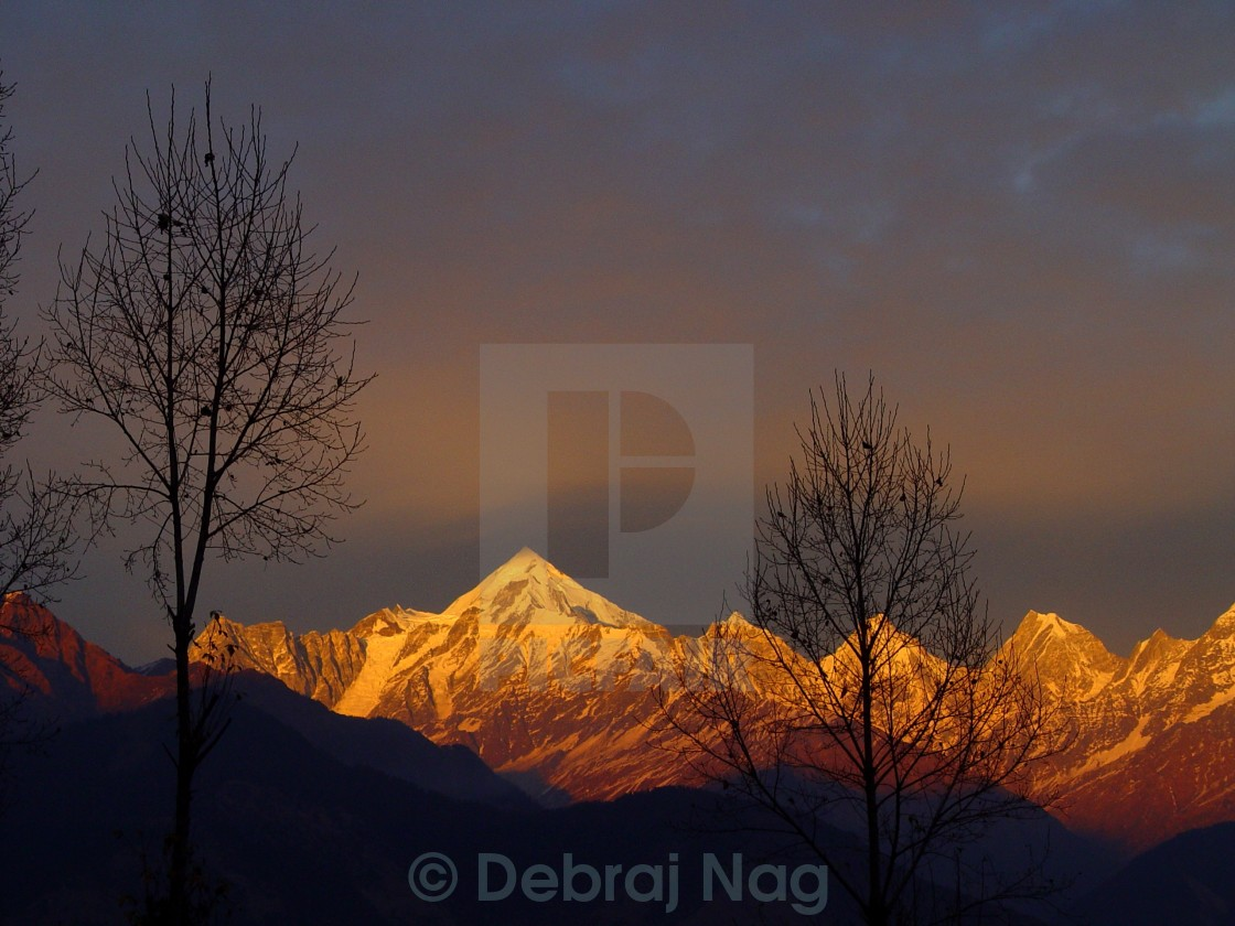 """Sunset on the Panchuli"" stock image"