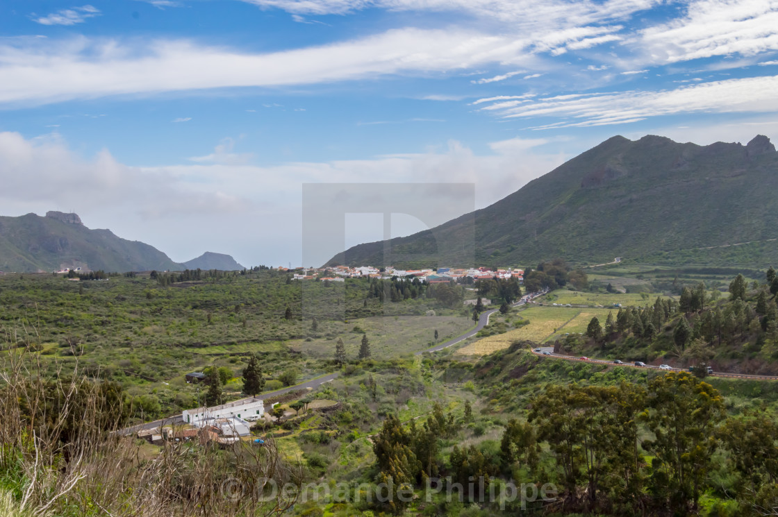"""View of the valley of arriba in the northwest of the island of Tenerife, Spain"" stock image"