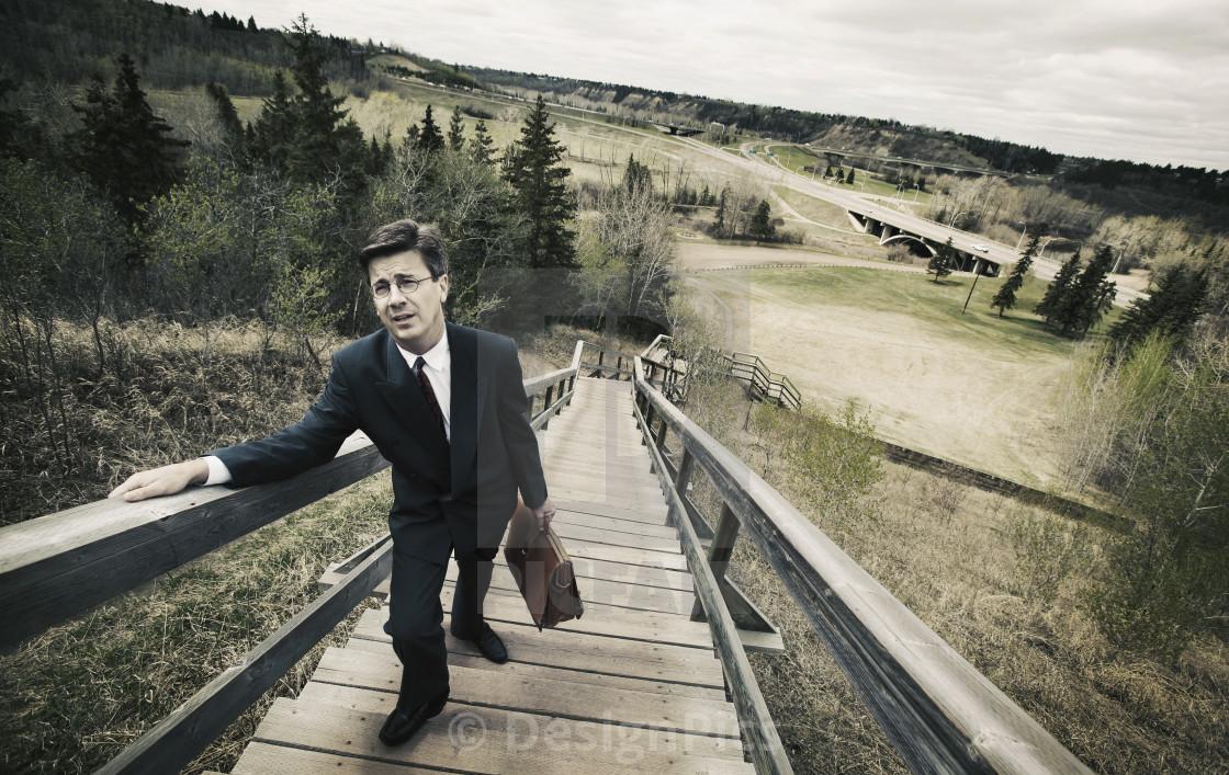 """Man Climbs Stairs"" stock image"