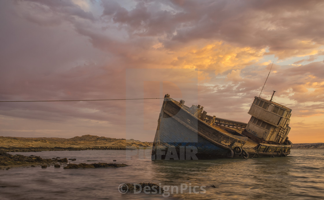 """The ""elena"" Shipwreck Outside Of Luderitz; Namibia"" stock image"