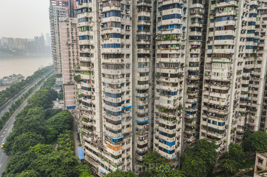 """Residential Buildings Over 30 Floors For Apartments; Chongqing, China"" stock image"