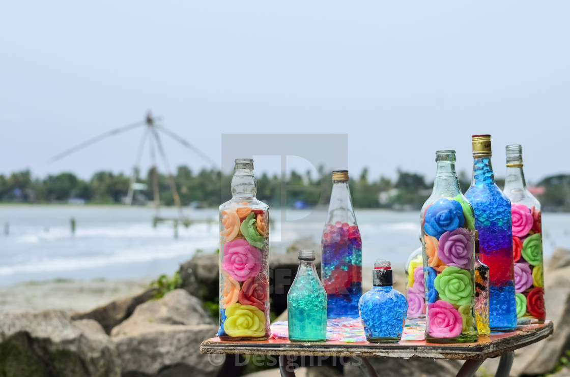 """Decorated Glass Bottles With Colorful Roses; Kochi, Ernakulam District,..."" stock image"
