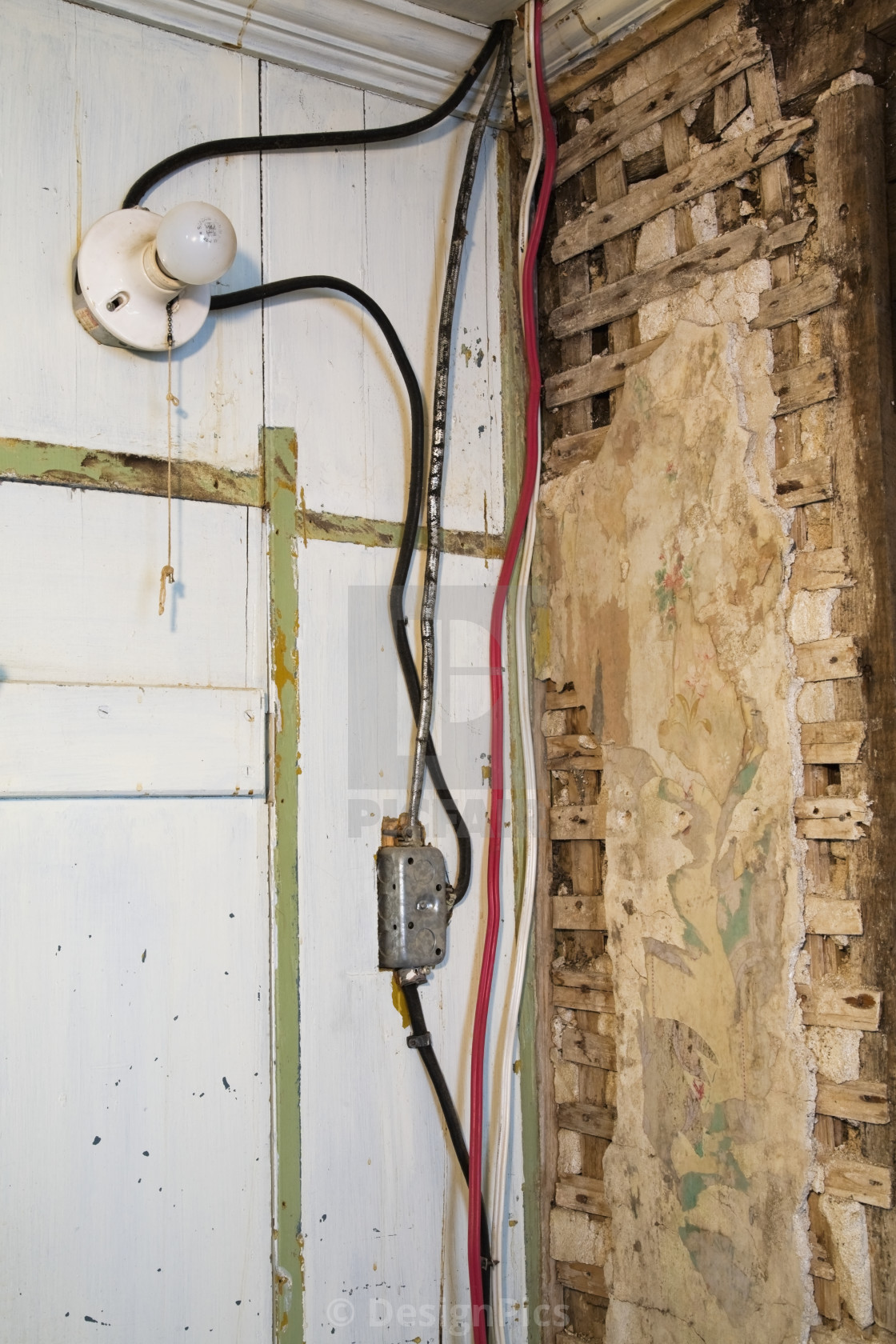 Old Electrical Cloth Insulated And Plastic Wiring, Light ... on