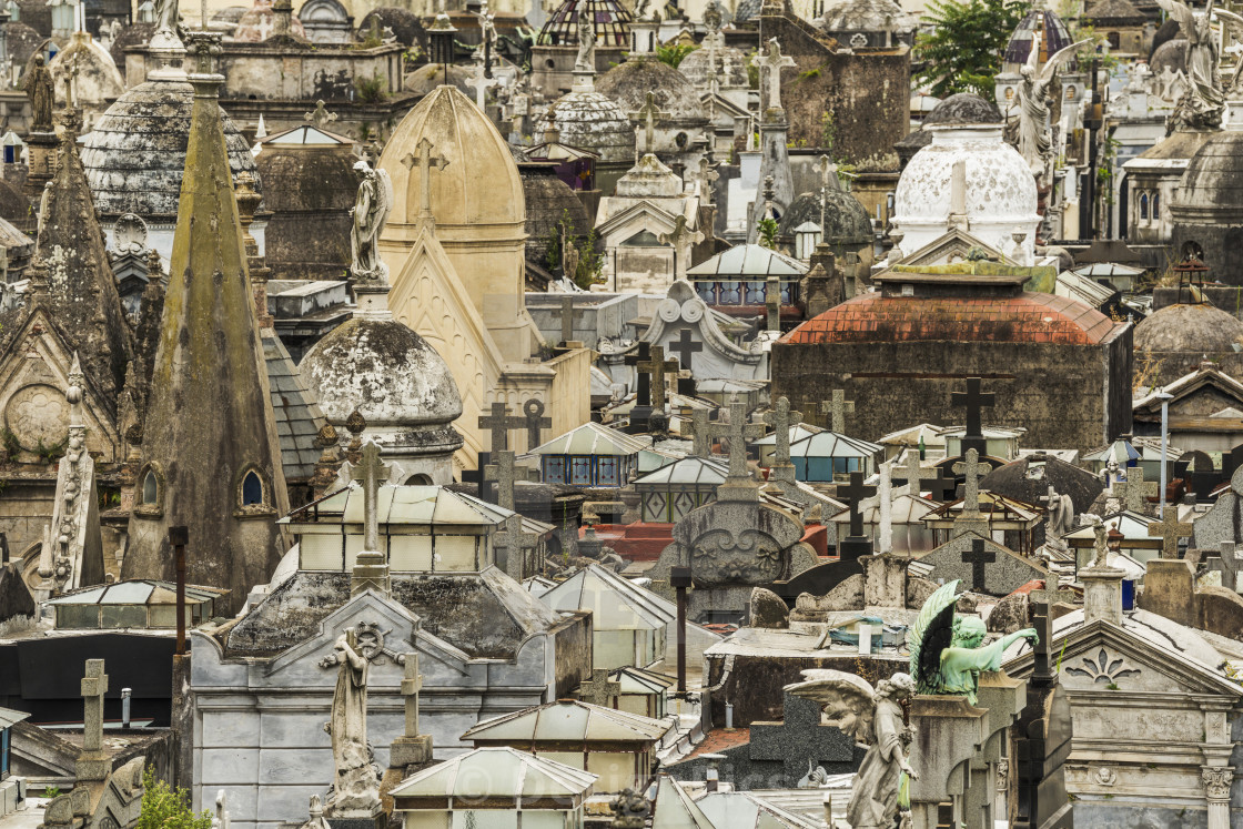 """Tombs With Crosses At La Recoleta Cemetery; Buenos Aires, Argentina"" stock image"