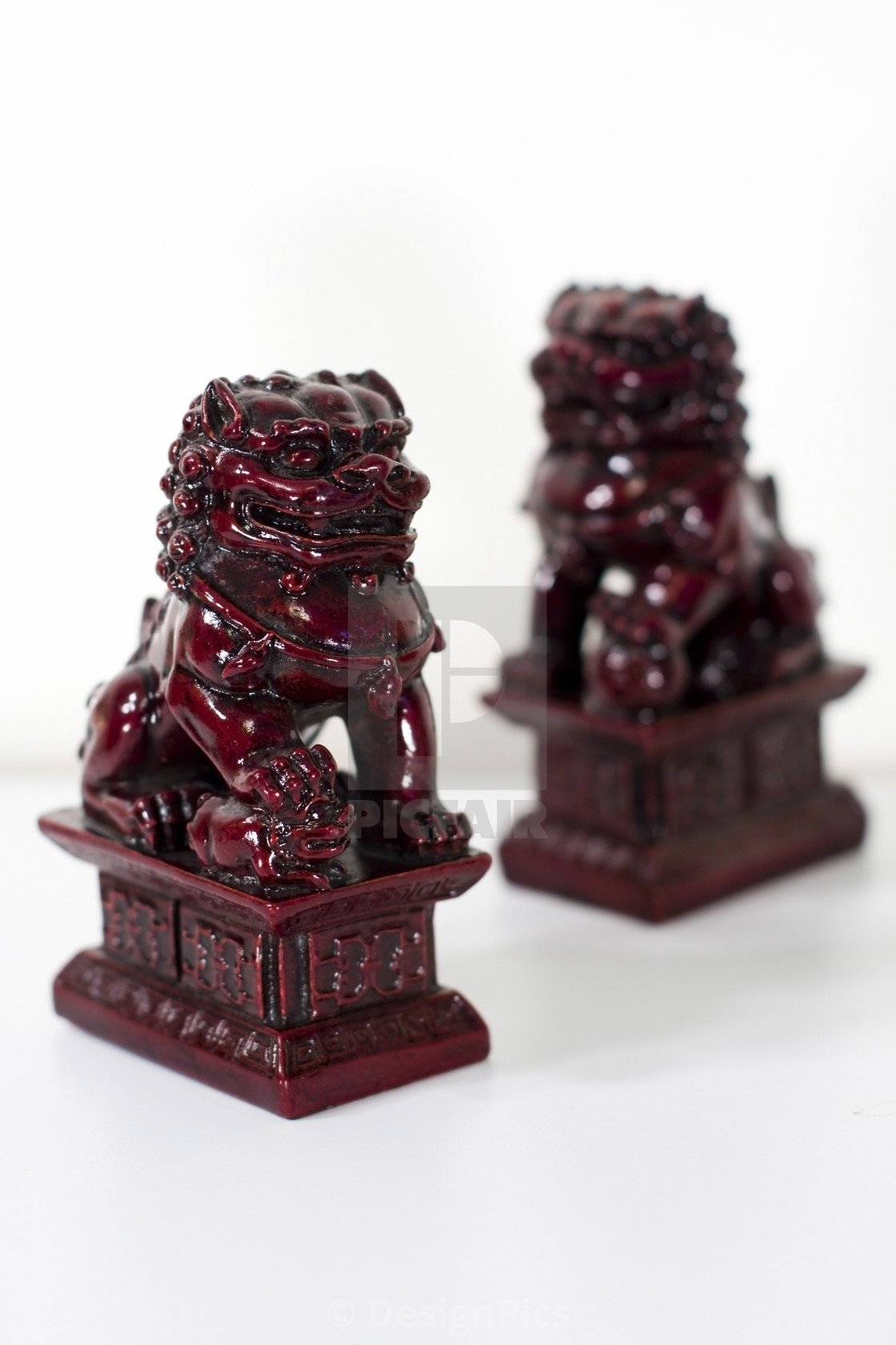 """Chinese Lions; Figurines Of Lions Believed To Have Mythic Protective Powers..."" stock image"