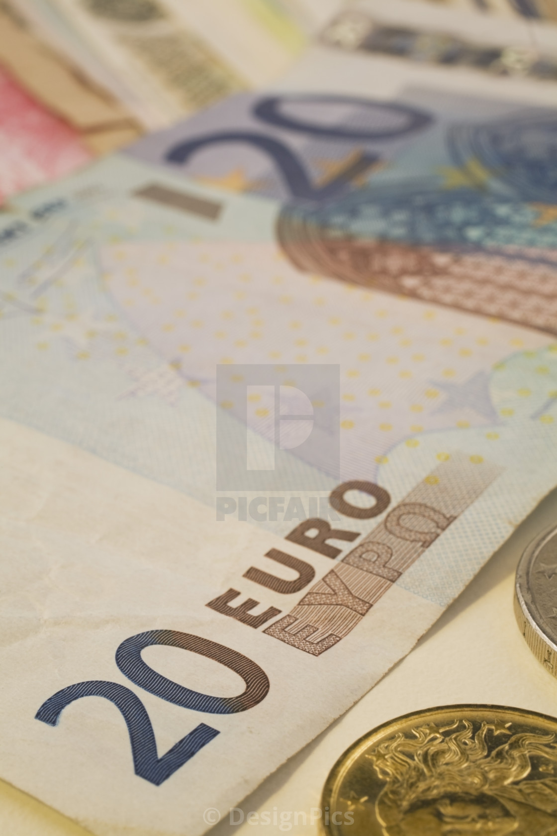 20 Euro Currency Bank Note And Coins