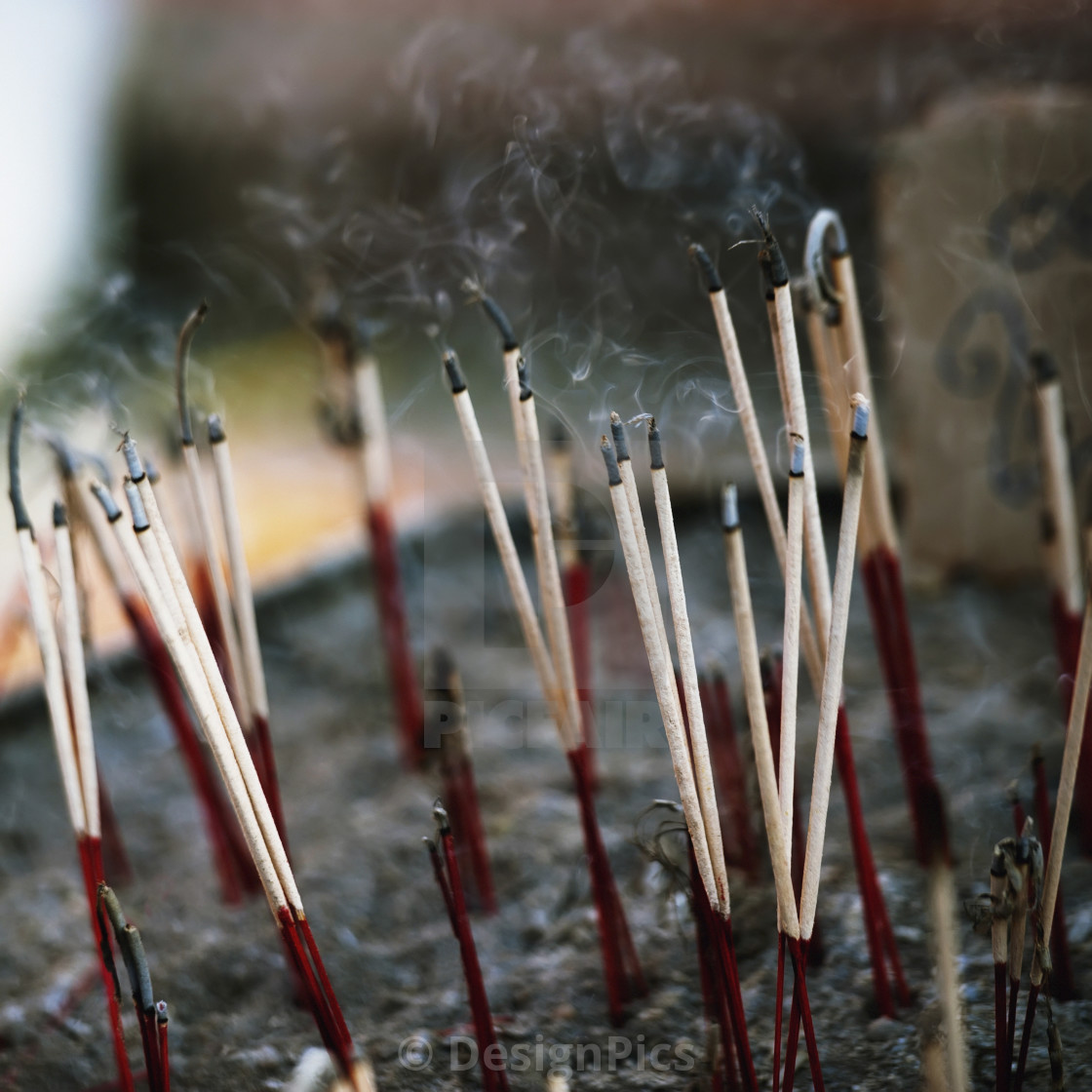 """Close-Up Of Incense Sticks In Wat Phrathat Doi Suthep Temple; Chiang Mai,..."" stock image"