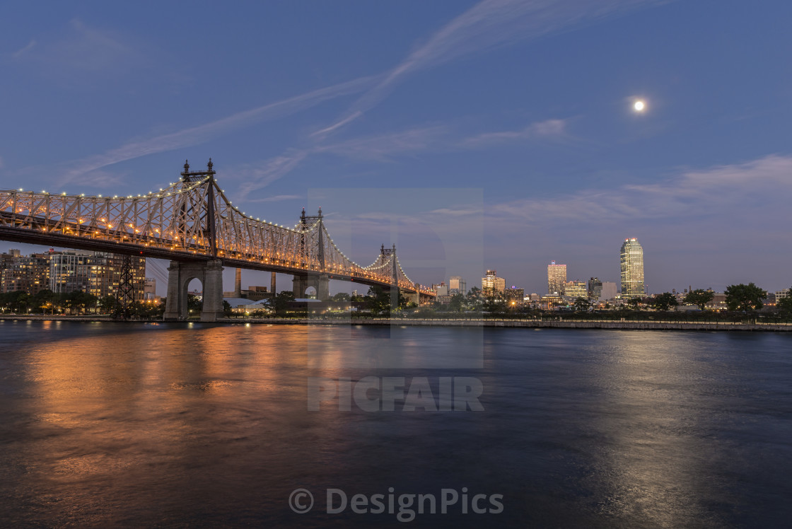 """Moonrise Over Queensboro (59th Street) Bridge And The Citibank Building;..."" stock image"