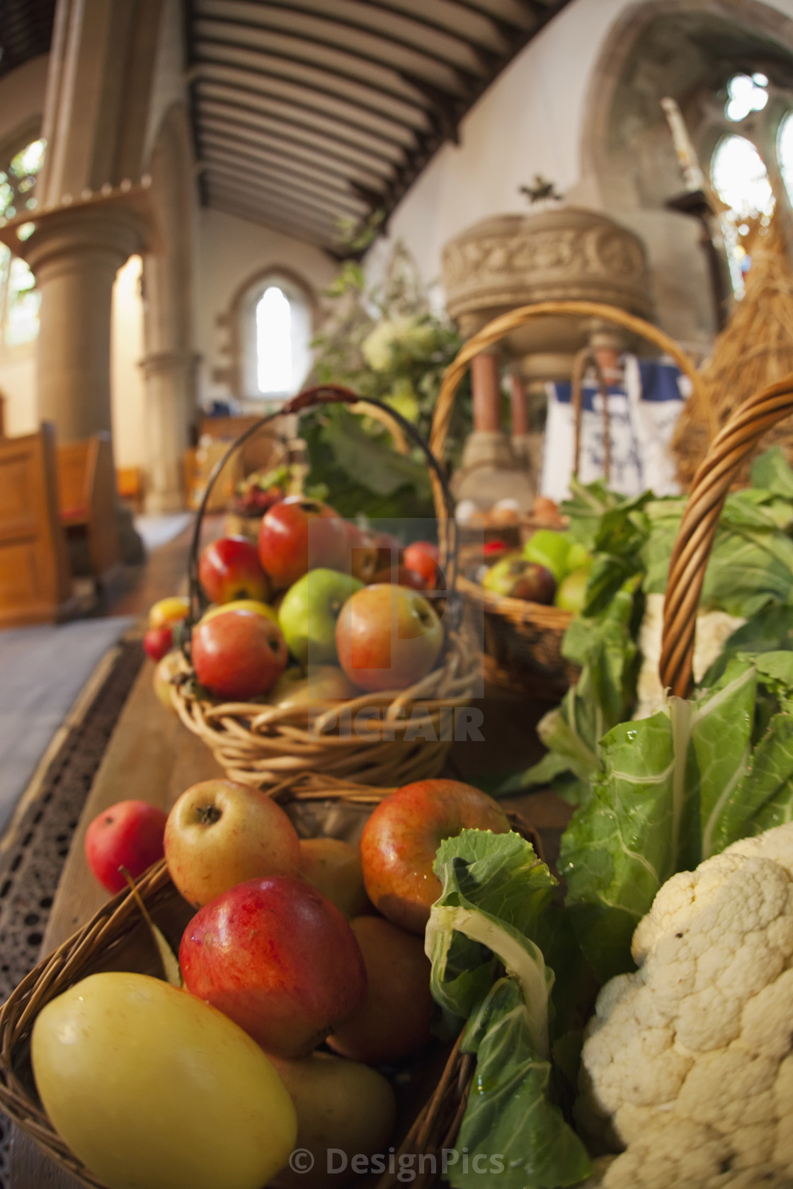 """Fresh Food On Display On A Table For Harvest Festival; Kelso, Scottish..."" stock image"