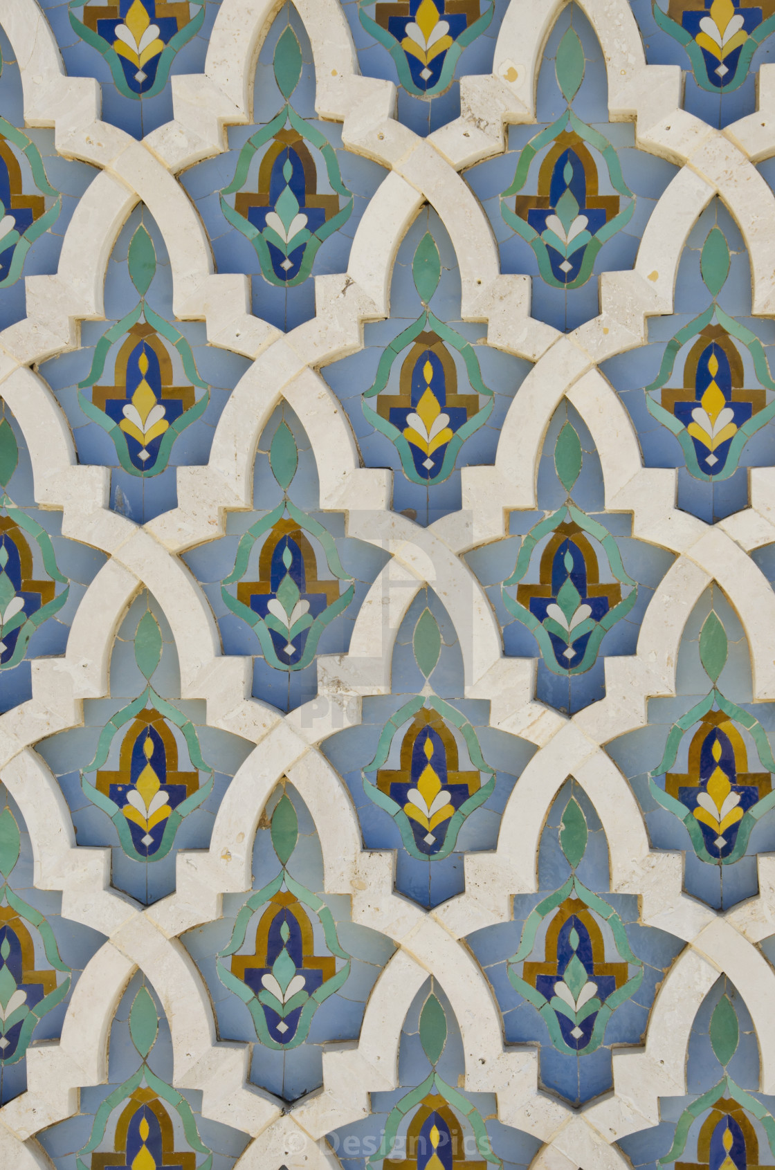 """Ornate detail on the wall at the hassan ii mosque;Casablanca morocco"" stock image"