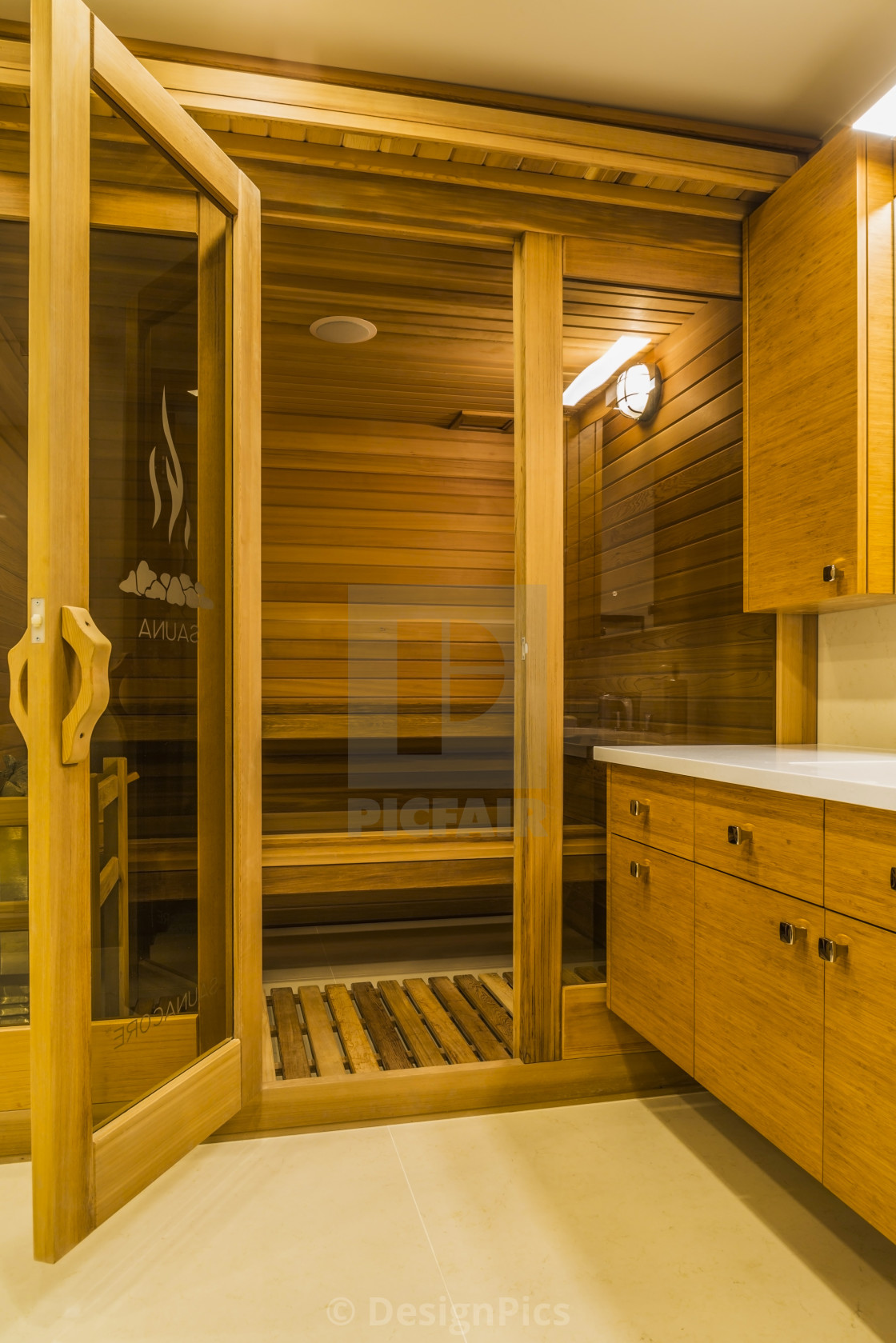 Sauna Room In Basement Bathroom With Bamboo Wood Vanity And White Marble License Download Or Print For 30 32 Photos Picfair