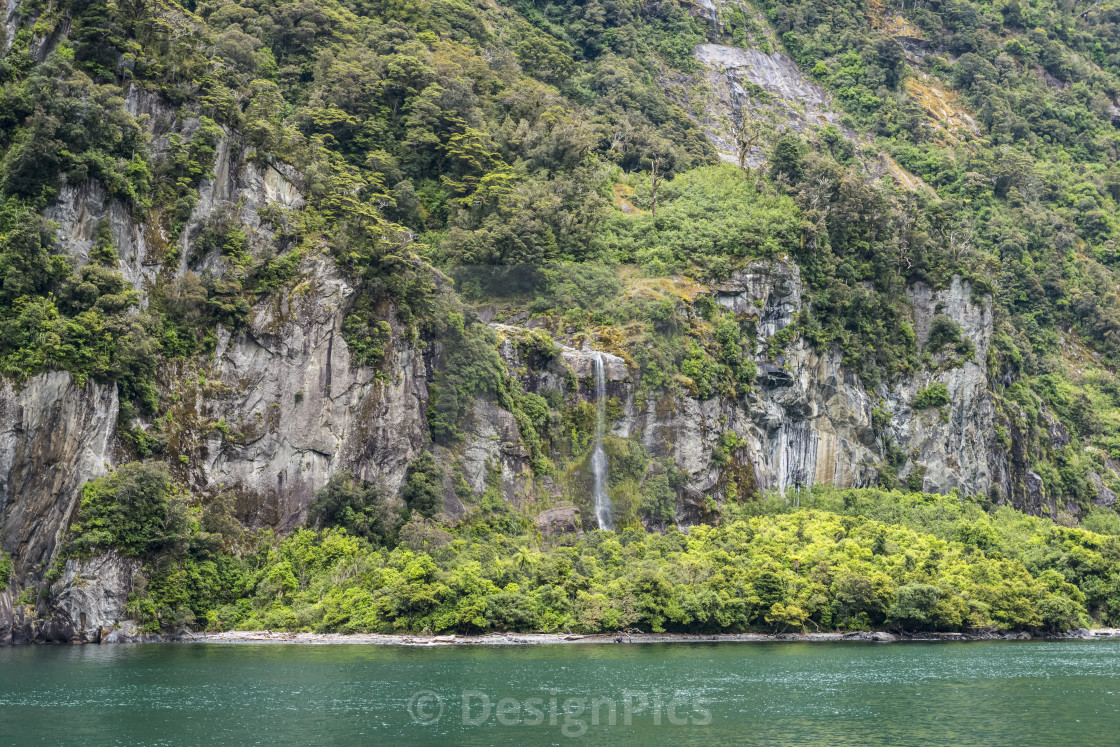 Mountain Slopes And Waterfall Fiordland National Park