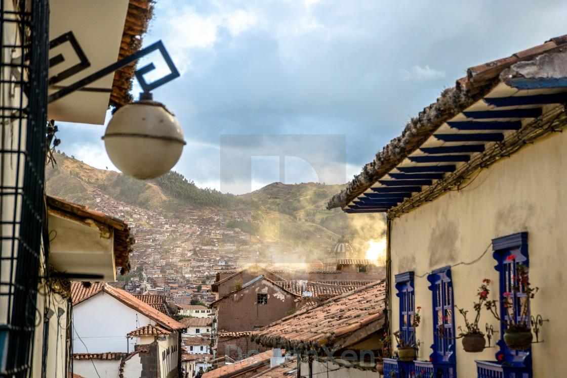 """Cusco rooftops"" stock image"