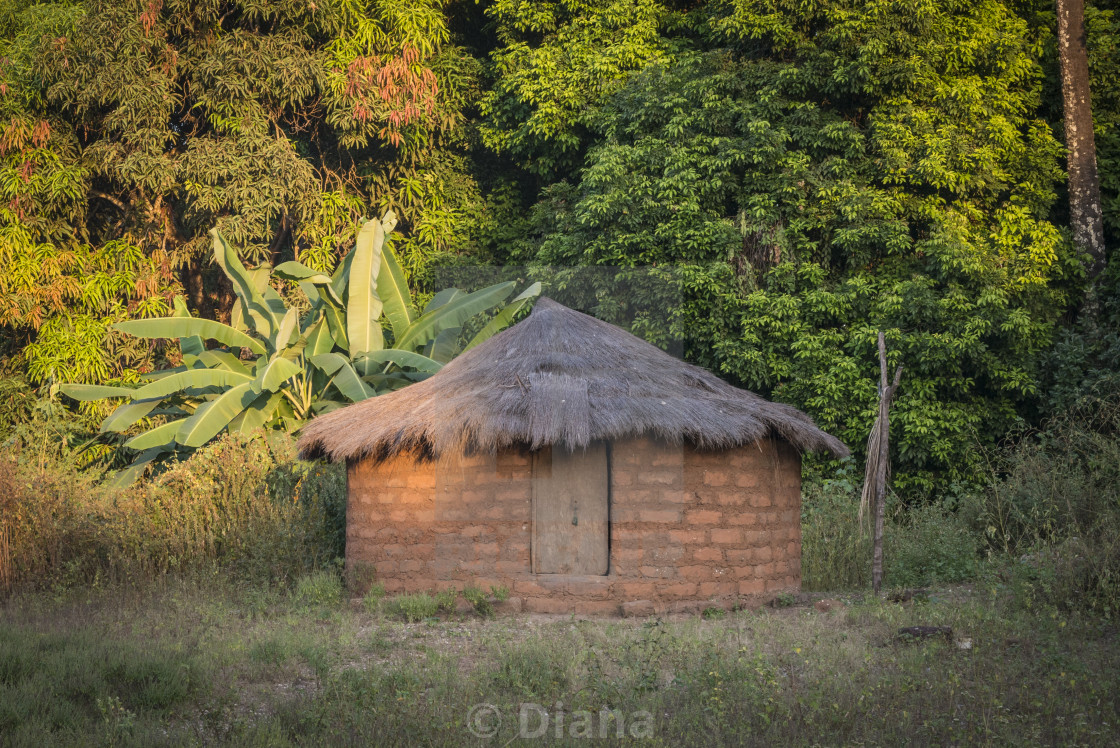 """""""A thatched hut in the village of Agande on Uno island on the Bij"""" stock image"""