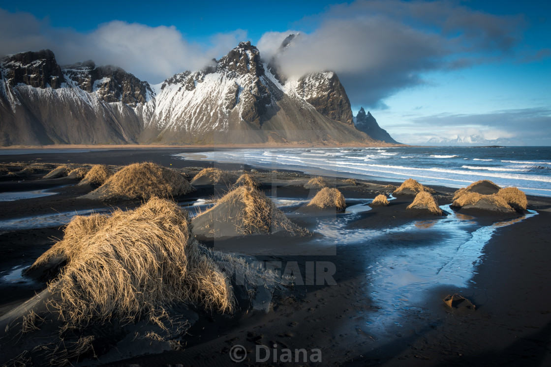 """""""The beach and mountains at Vestrahorn in Iceland"""" stock image"""