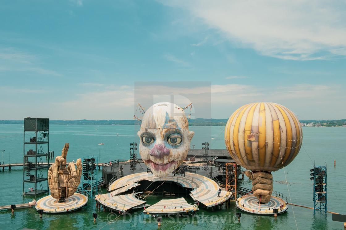 """""""Bregenz, Austria - July 06, 2019: Stage presentation for the new Opera performance """"RIGOLETTO"""" by Giuseppe Verdi, on the world's largest lake stage in Bregenz on Lake Constance."""" stock image"""