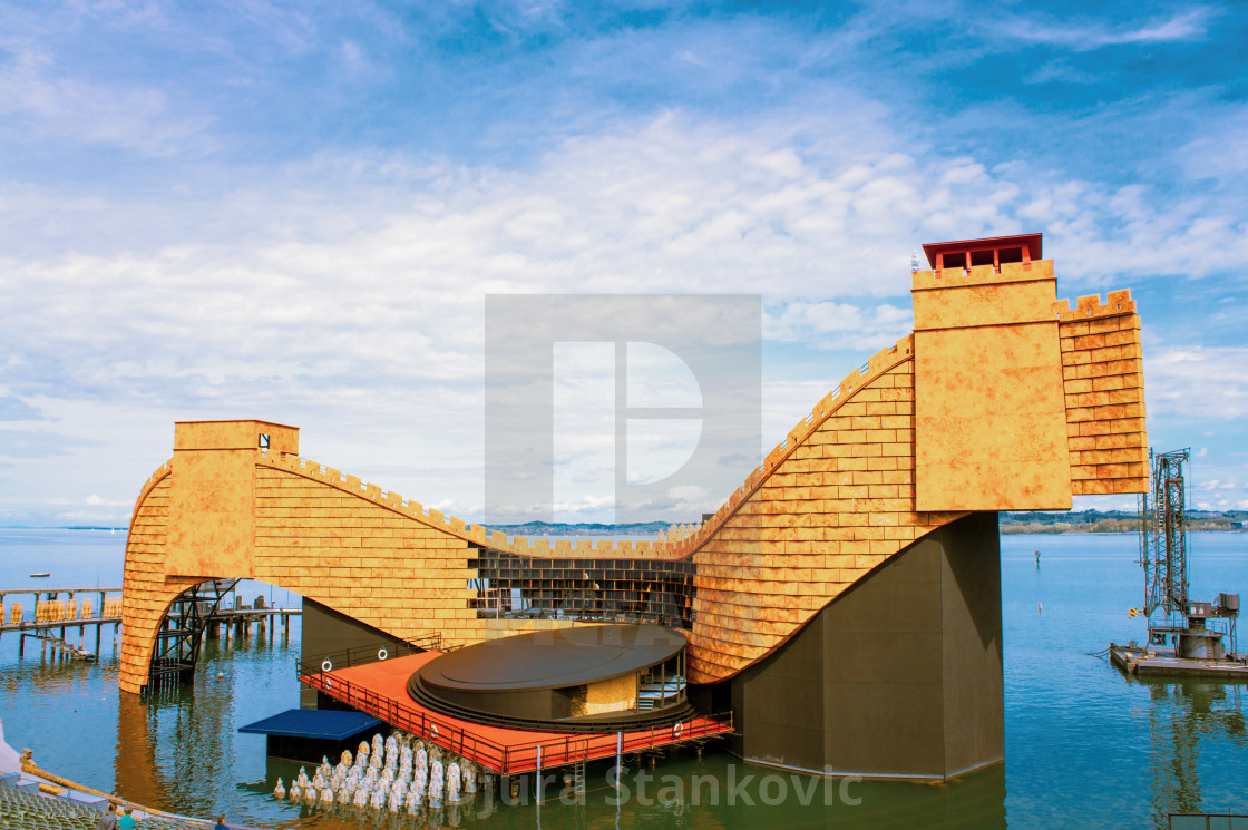 """""""The newly built scenery on the lake stage at the Lake Constance in Bregenz for the opera Turandot. The lake stage in Bregenz is the largest lake stage in the world."""" stock image"""