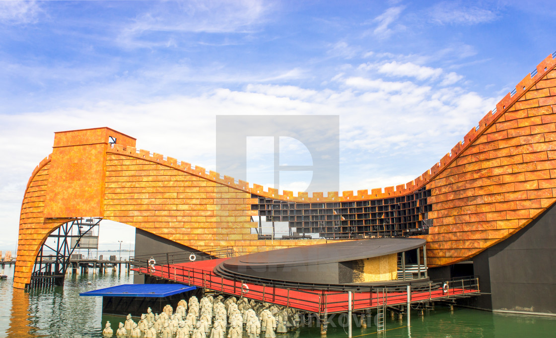 """""""BREGENZ, AUSTRIA - APRIL 26, 2015 The newly built scenery on the lake stage at the Lake Constance in Bregenz for the opera Turandot. The lake stage in Bregenz is the largest lake stage in the world."""" stock image"""