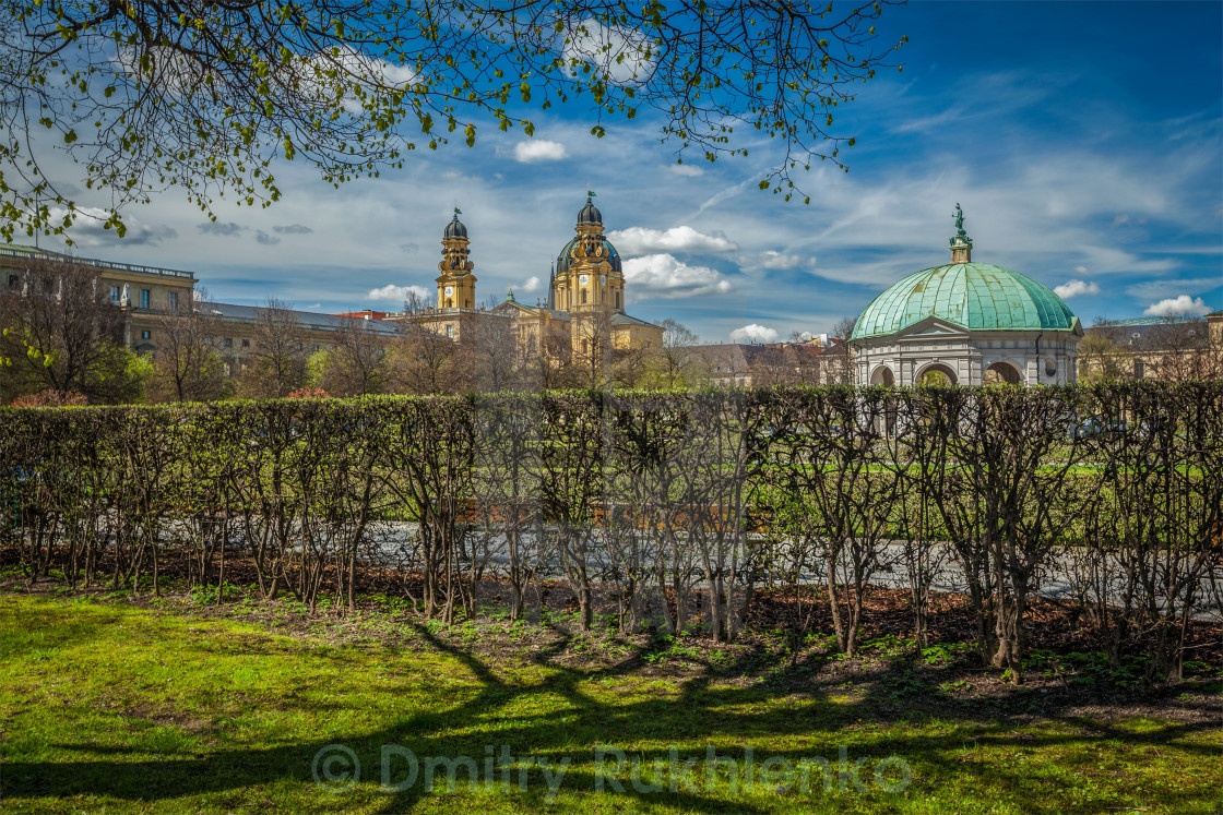 """Pavilion in Hofgarten and Theatine Church. Munich, Bavaria, Germany"" stock image"