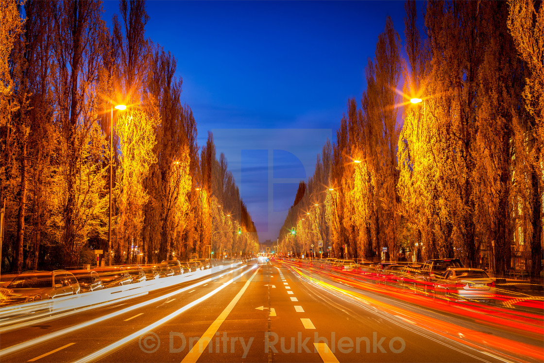 """Street road in evening"" stock image"