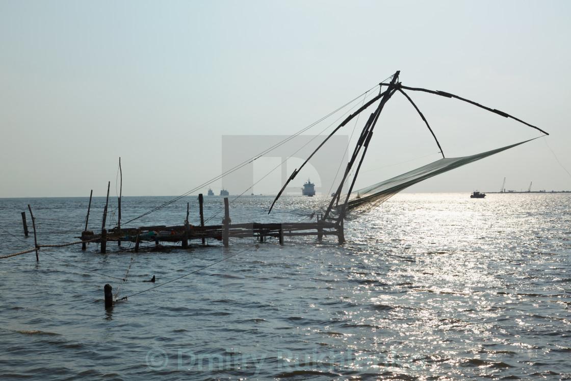 """""""Kochi chineese fishnets on sunset. Fort Kochin, Kerala, India"""" stock image"""