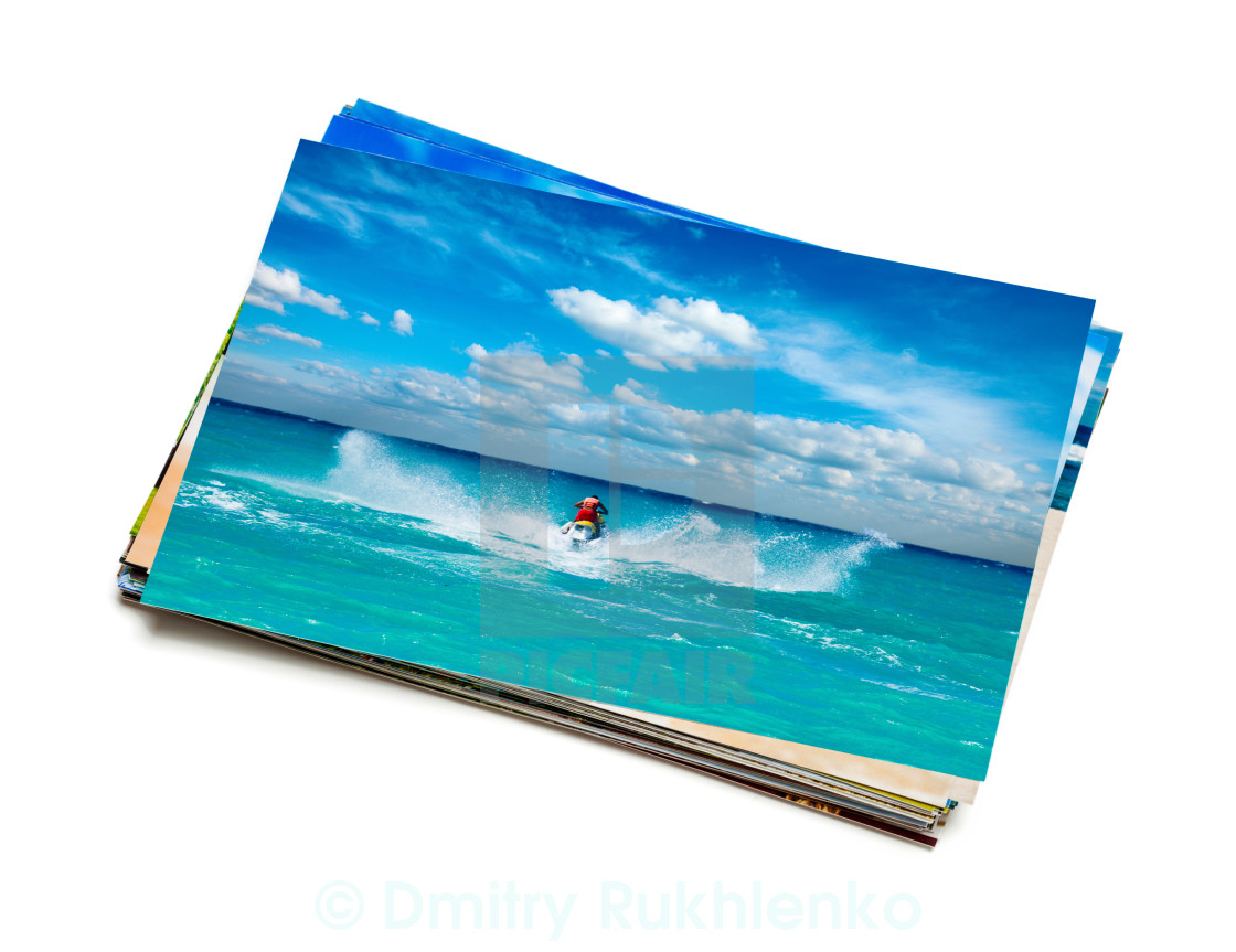 """""""Stack of vacation photos isolated"""" stock image"""