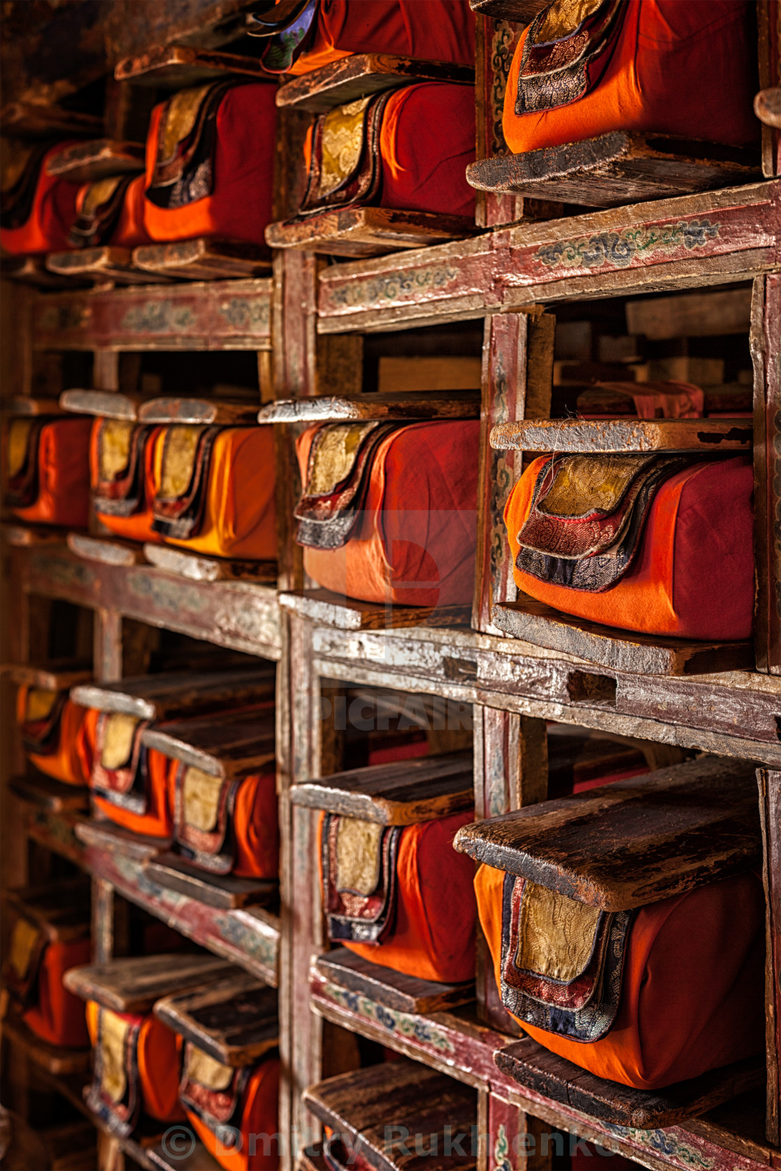 """Manuscripts folios in Tibetan Buddhist monastery"" stock image"
