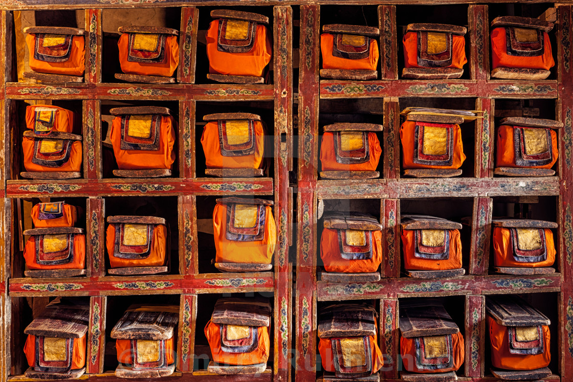 """""""Folios of old manuscripts in Buddhist Monastery"""" stock image"""