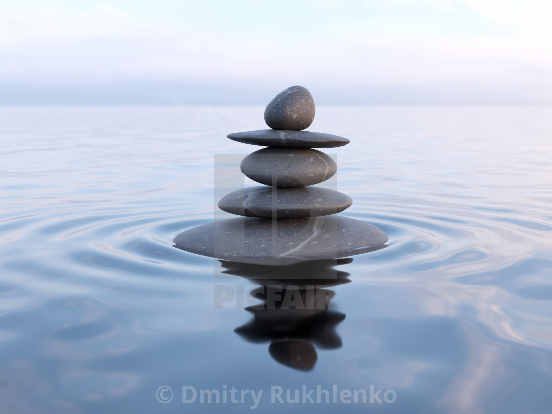 Balanced Zen Stones In Water License Download Or Print For