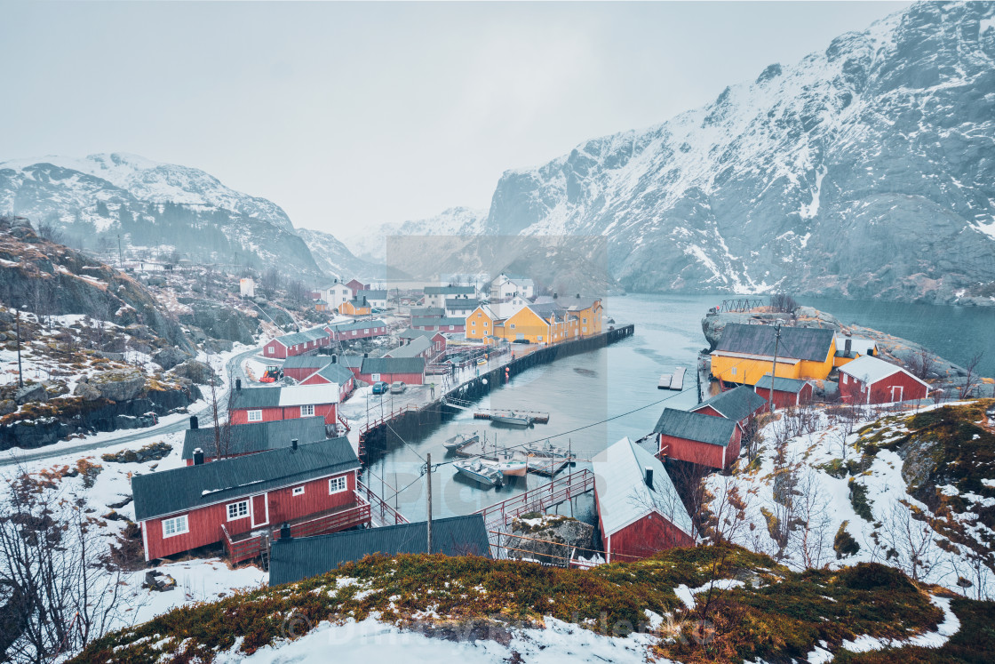"""""""Nusfjord fishing village in Norway"""" stock image"""