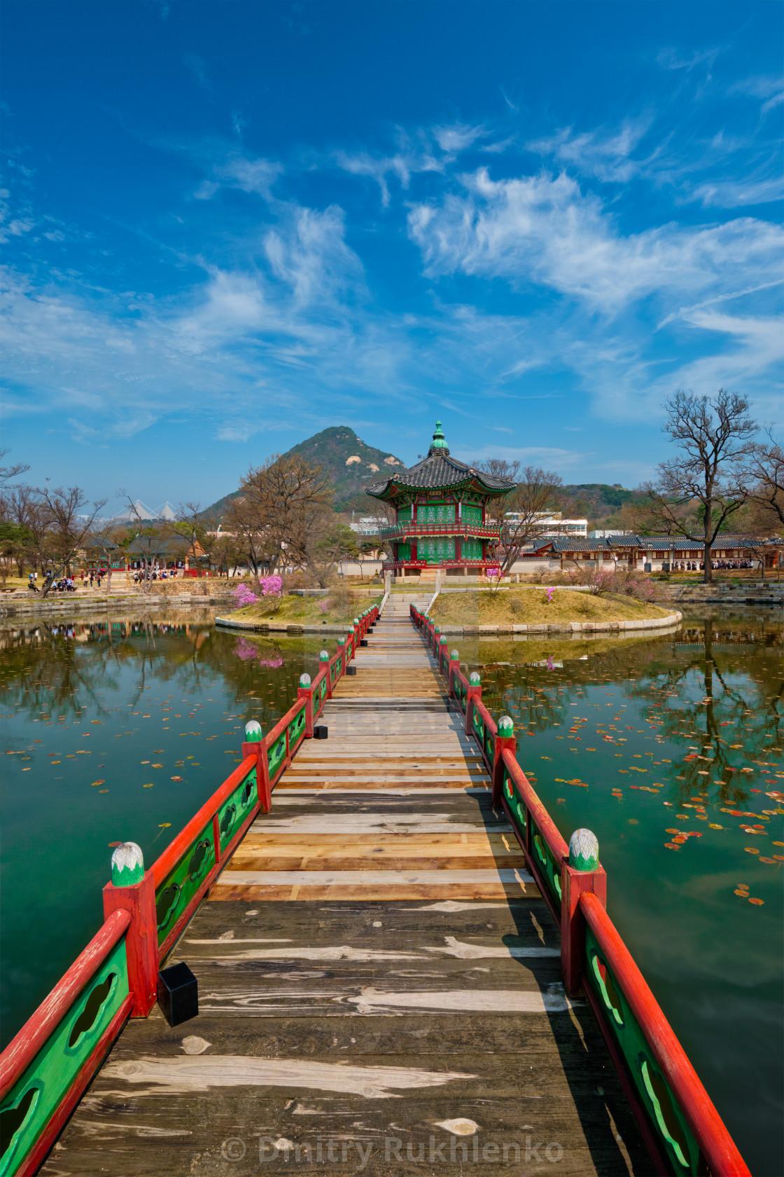 """Hyangwonjeong Pavilion, Gyeongbokgung Palace, Seoul, South Korea"" stock image"