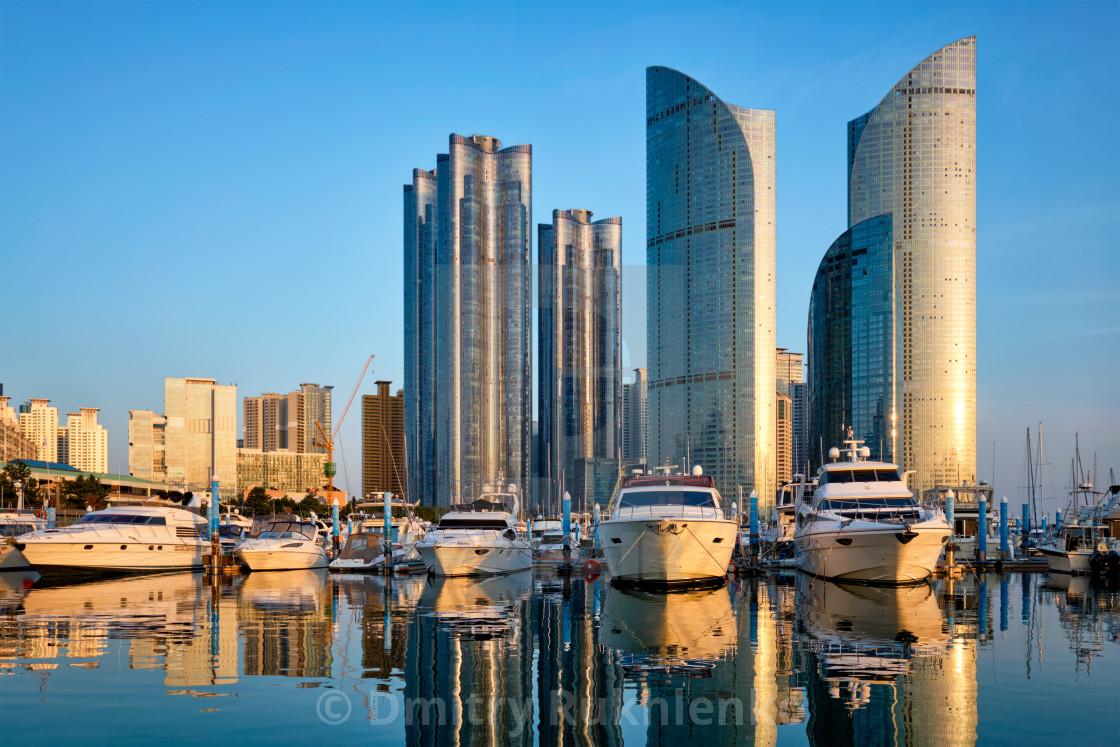 """Busan marina with yachts on sunset, South Korea"" stock image"