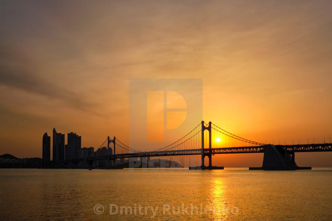"""Gwangan Bridge on sunrise. Busan, South Korea"" stock image"