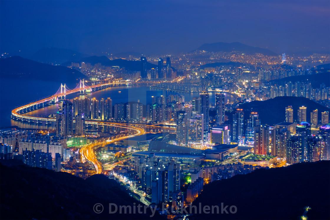 """""""Busan cityscape Gwangan Bridge at night"""" stock image"""