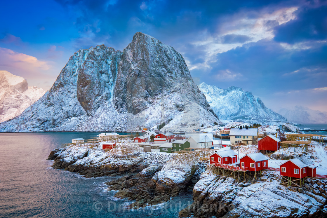 """Hamnoy fishing village on Lofoten Islands, Norway"" stock image"