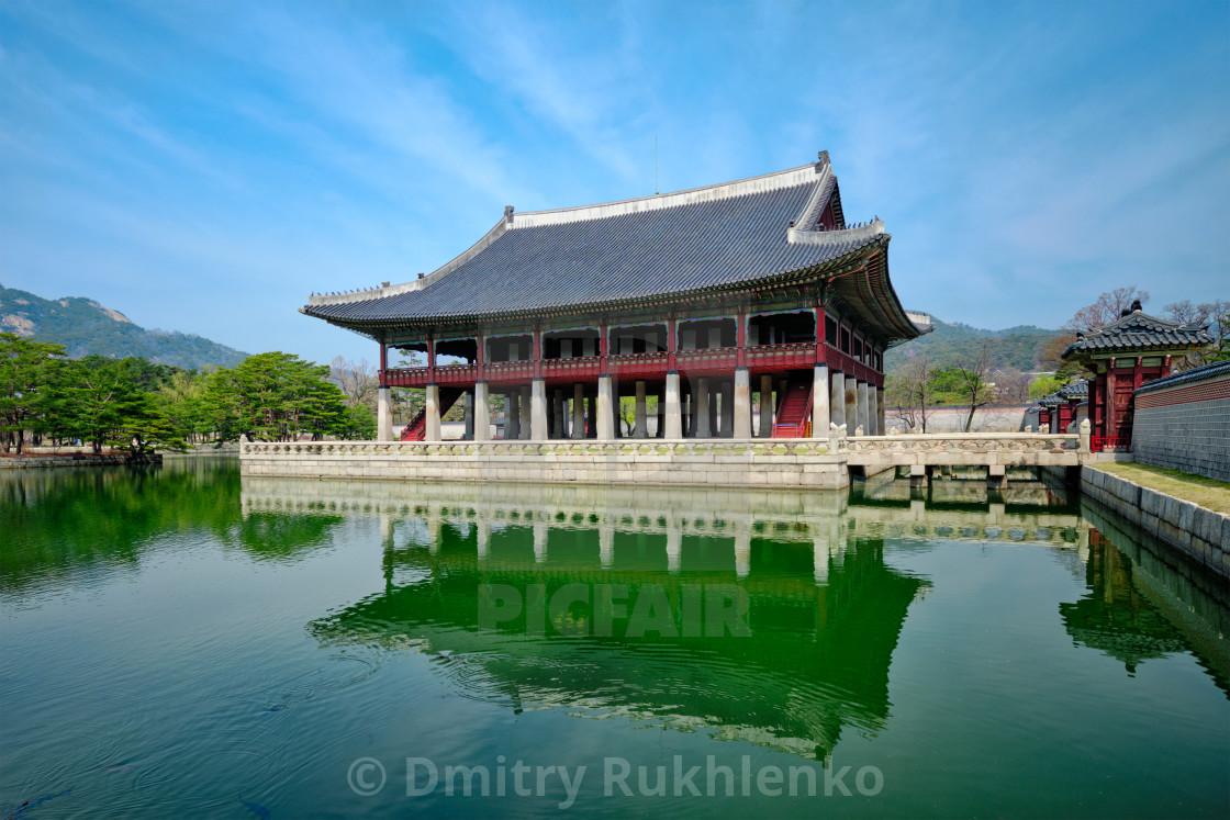 """Gyeonghoeru Pavillion Royal Banquet Hall in Gyeongbokgung Palace, Seoul"" stock image"