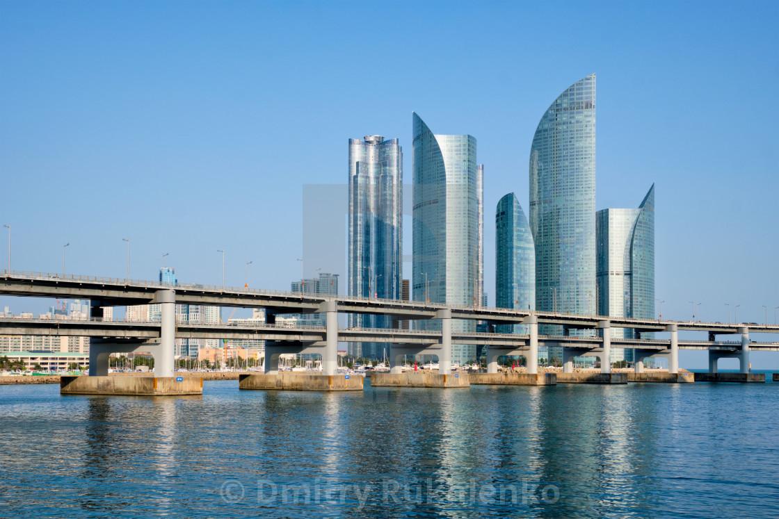 """Busan skyscrapers and Gwangan Bridge, South Korea"" stock image"