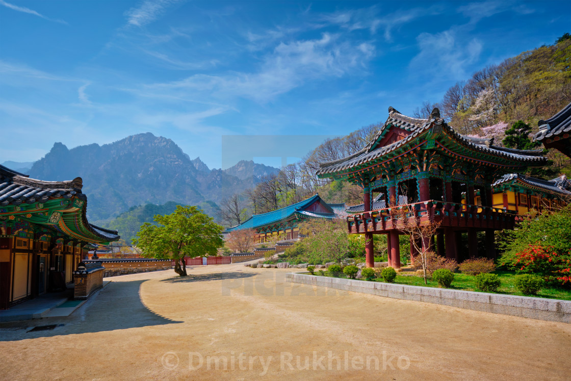 """Sinheungsa temple in Seoraksan National Park, Seoraksan, South Korea"" stock image"