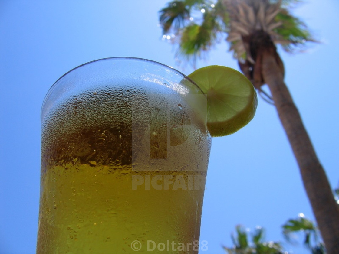 """""""Cold Beer Tropical Vacation"""" stock image"""