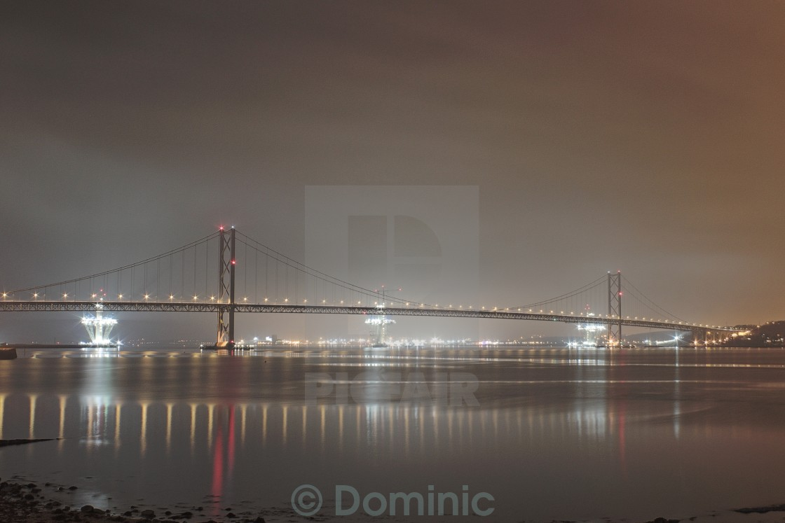 """""""The Forth Road Bridge By Night"""" stock image"""