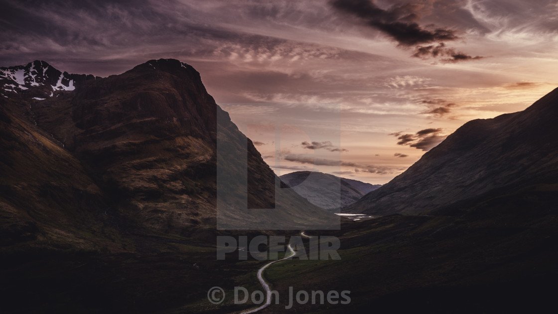 """sunset over the three sisters"" stock image"