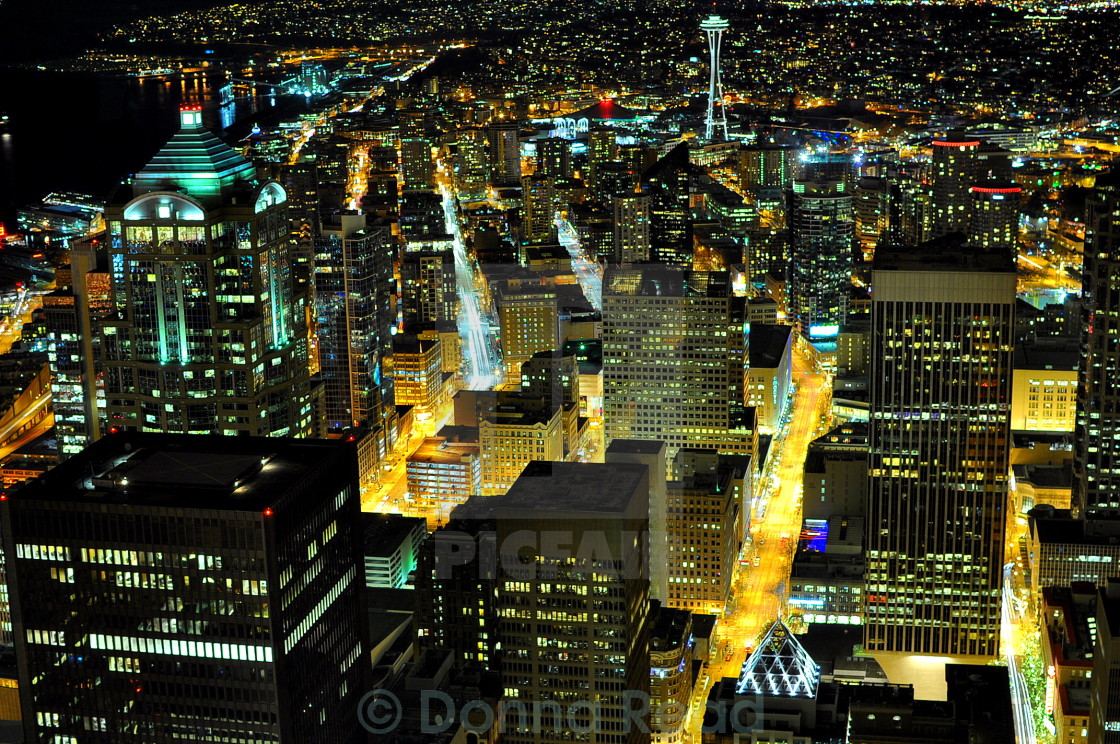 """Seattle At Night #1"" stock image"