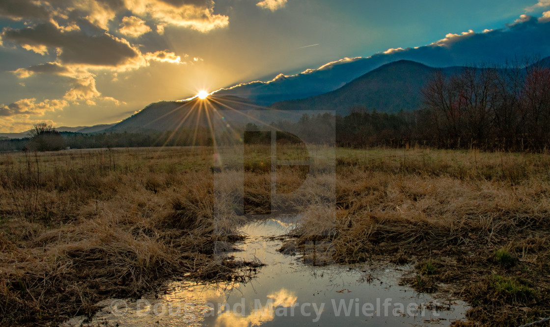 """Winter Sunrise in Cades Cove"" stock image"